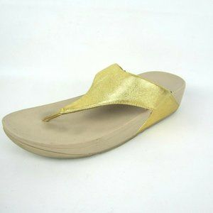 FITFLOP LuLu Artisan Gold Thong Flip Flops Wedge 9